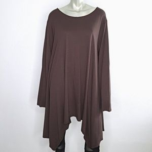 Plus Size 3X Brown Asymmetric Boho Tunic Top 30W